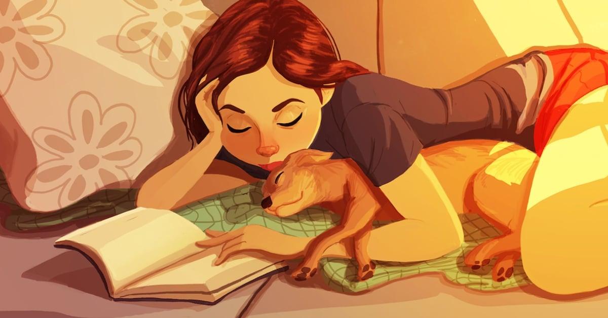 Ilustrações reconfortantes mostram como as pessoas com cães estão vivendo suas melhores vidas