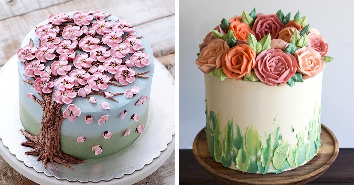 30 bolos de flores feitos com creme de manteiga artisticamente deliciosos