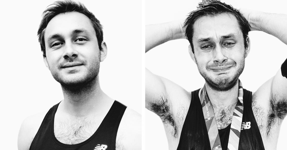 Expressões poderosas de corredores antes e depois de terminar uma maratona
