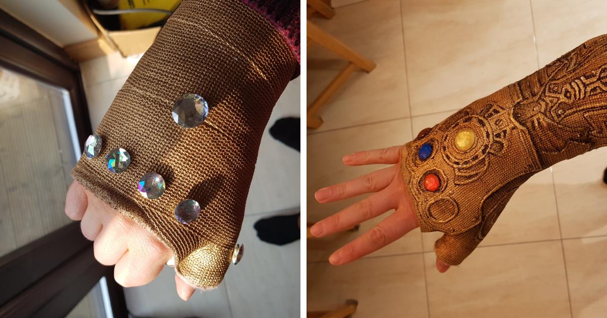 Depois de quebrar o punho, ele transformou seu gesso na manopla do infinito do Thanos