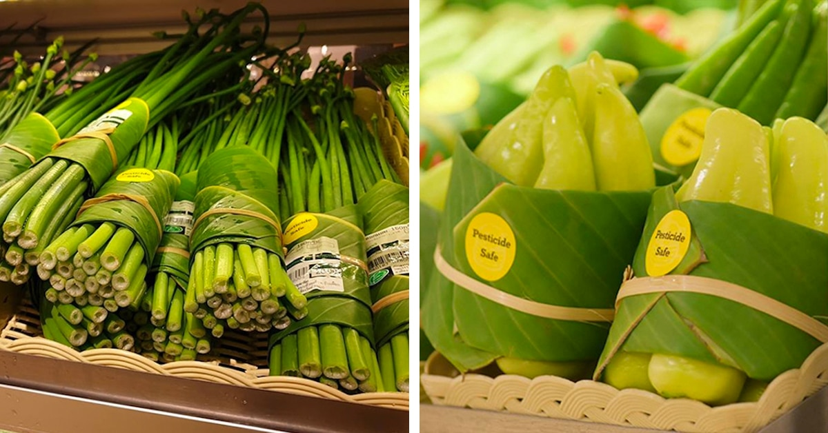 Supermercado asiático eco-friendly substitui embalagens plásticas por folhas de bananeira