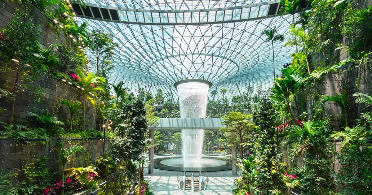 Cachoeira indoor mais alta do mundo utiliza água coletada da chuva