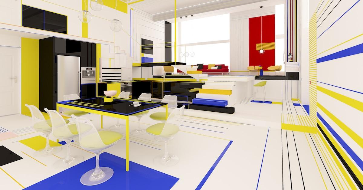 Este apartamento moderno imagina como seria viver dentro de uma pintura de Mondrian