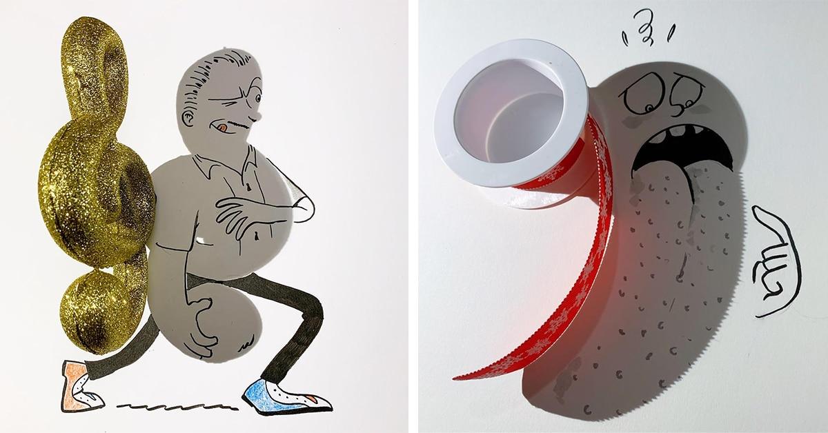Artista transforma sombras de objetos do cotidiano em personagens brincalhões