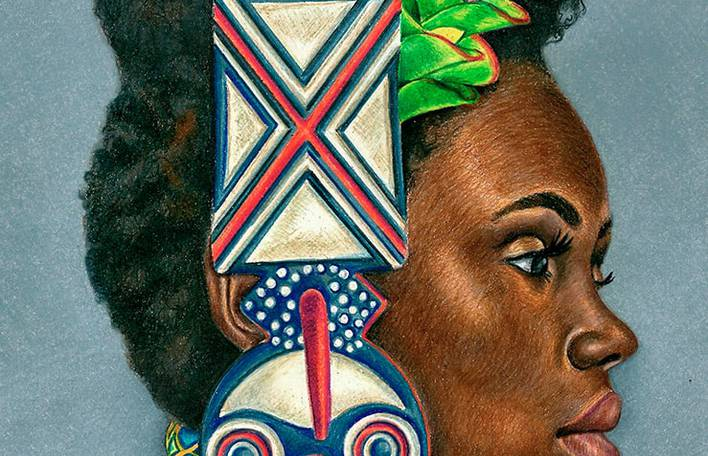 Desenhos inspirados na cultura africana por artista autodidata