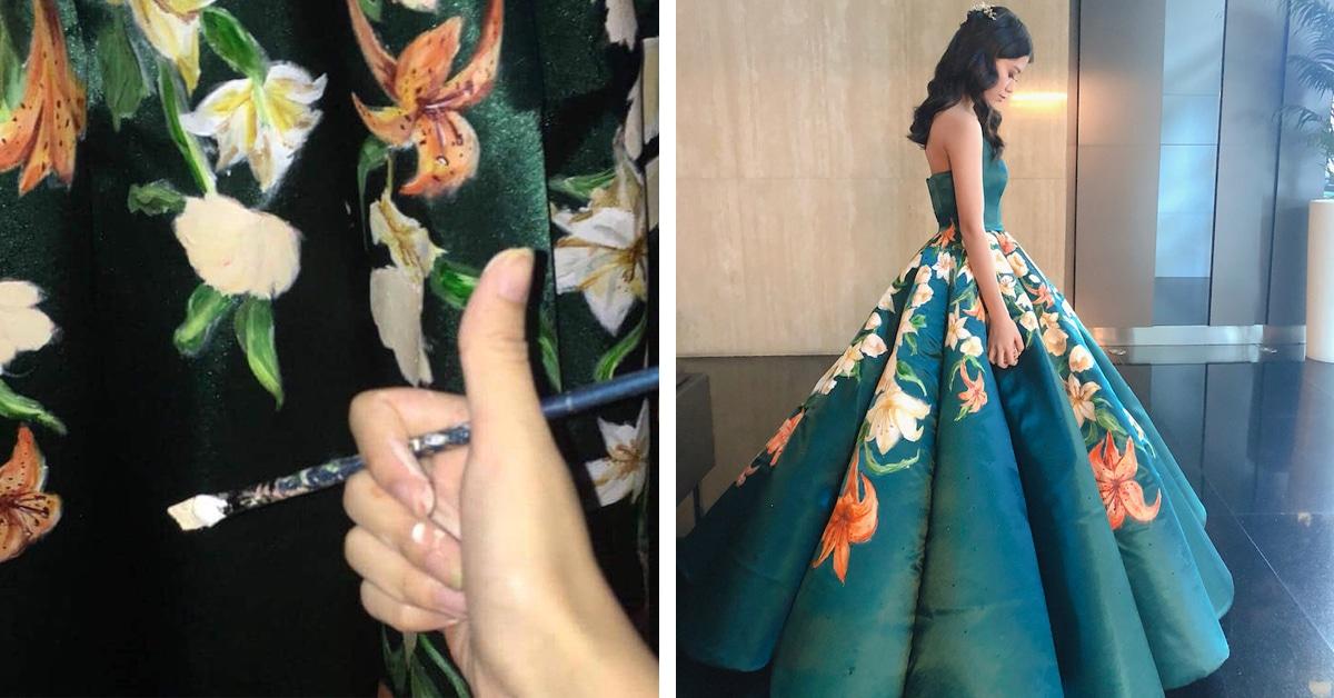 Jovem artista pintou à mão seu próprio vestido de formatura, e o resultado você vê aqui