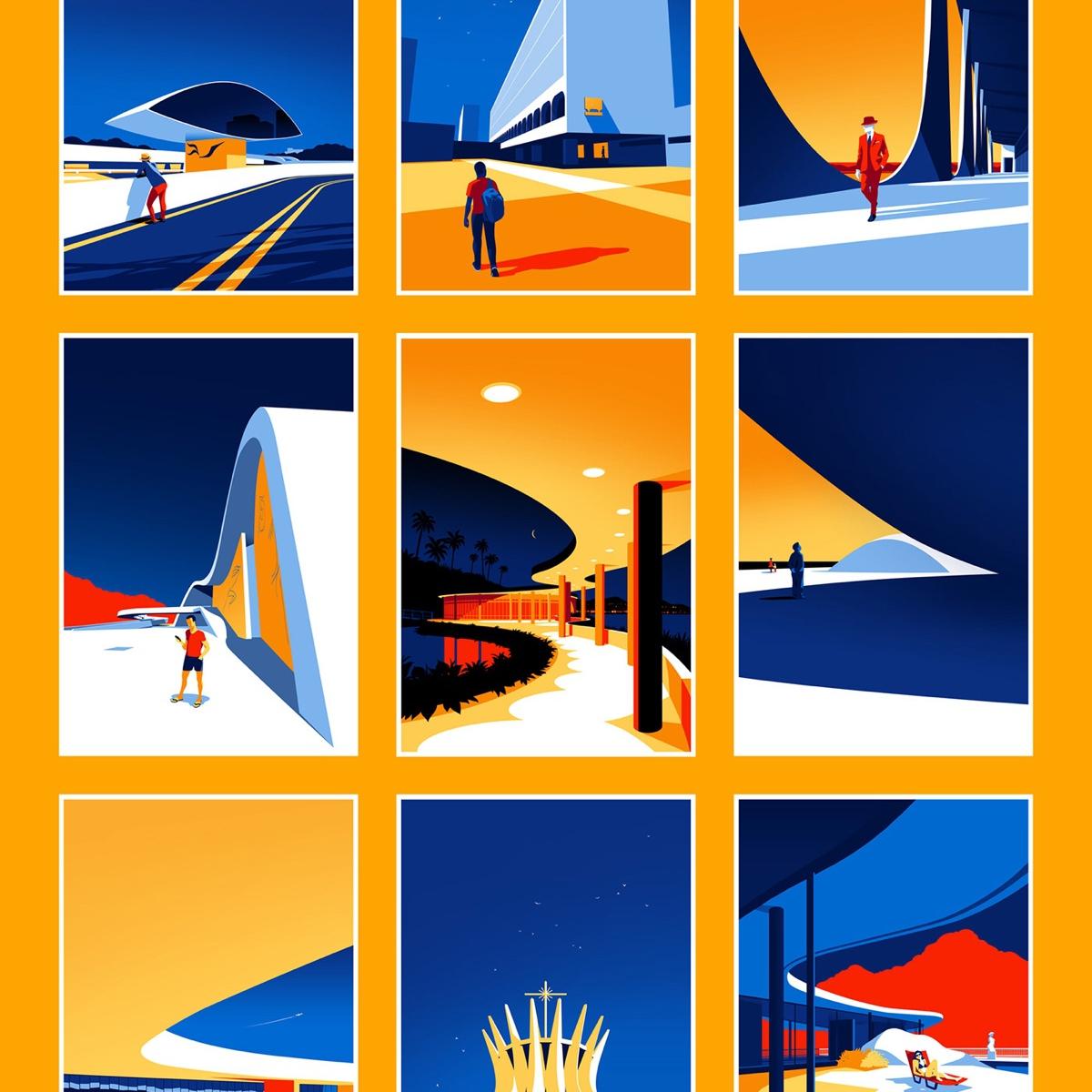 Ilustrações minimalistas celebram a beleza da arquitetura moderna de Oscar Niemeyer