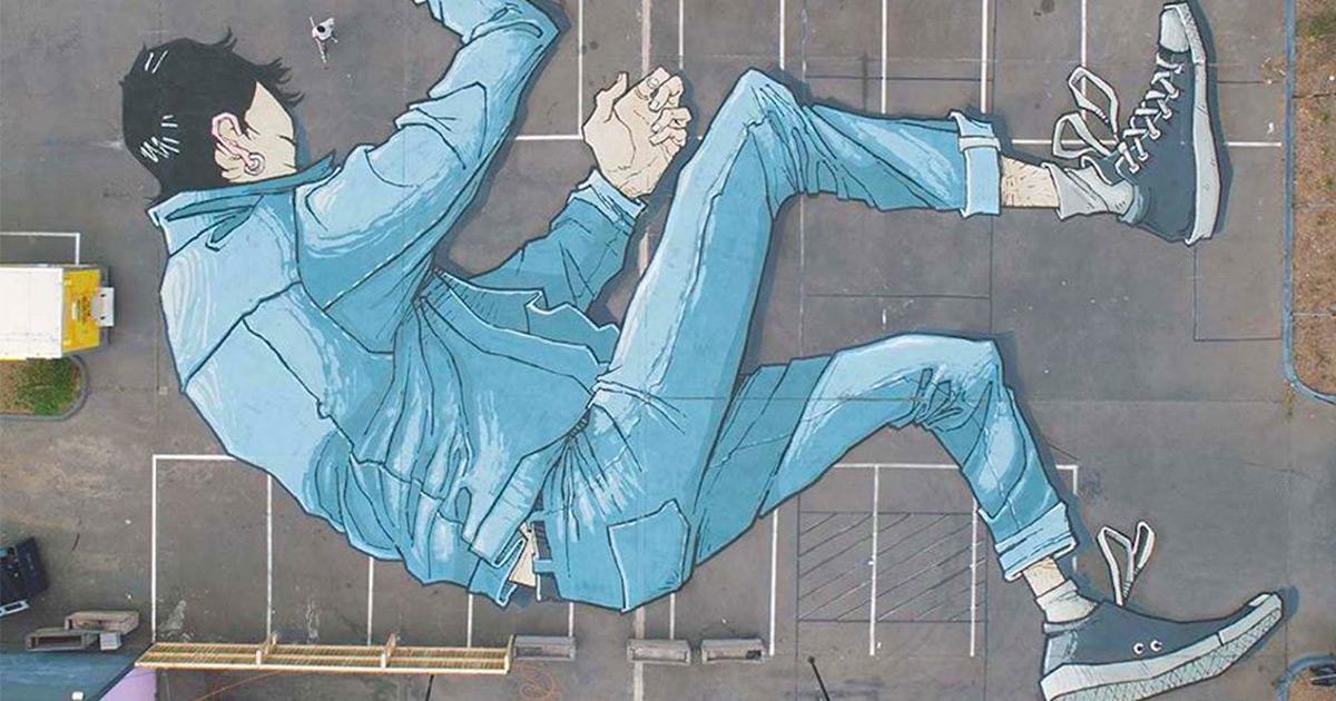 Artista australiano pinta imensos murais ilustrativos… no chão