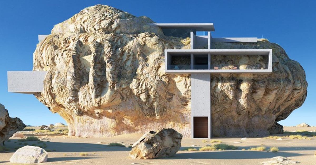 Arquiteto projeta uma casa moderna minimalista dentro de uma pedra antiga gigante