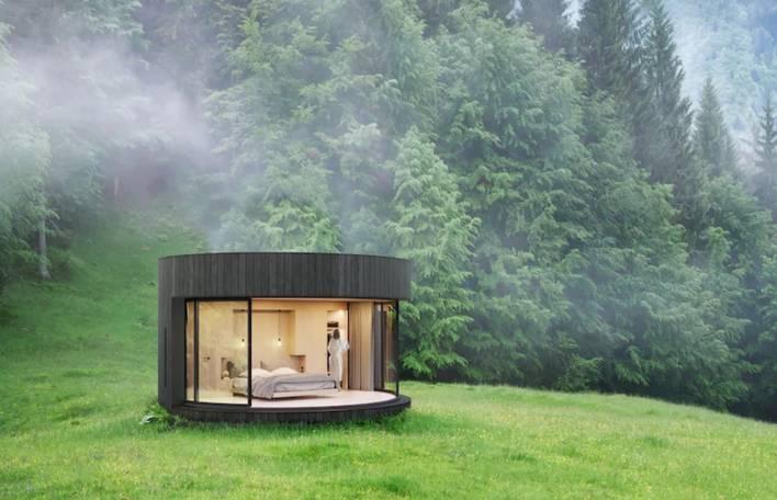 Uma cabana curvada fantástica para ser instalada na natureza