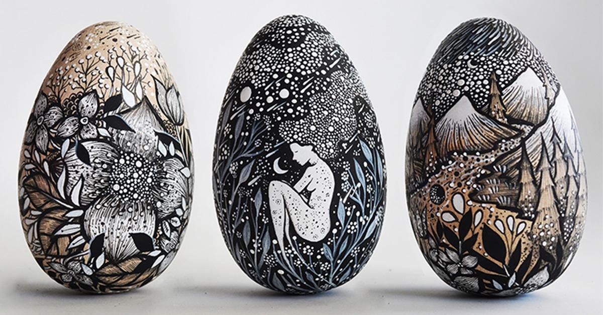 Estes ovos de madeira ilustrados são como livros de histórias que você pode segurar na sua mão