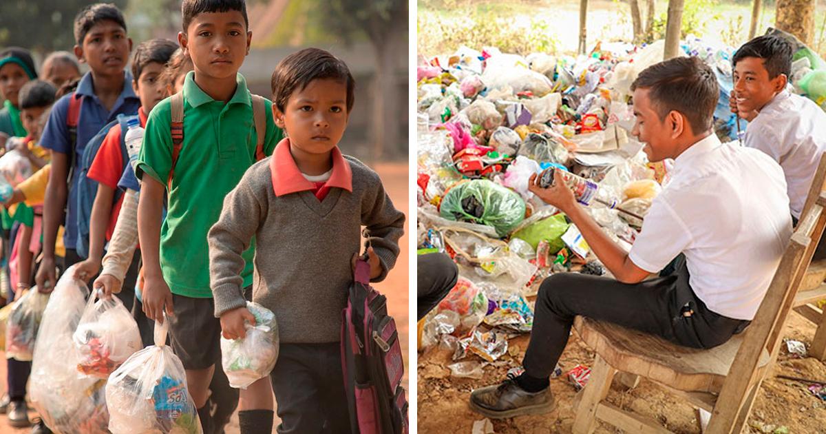 Estudantes pagam suas mensalidades com plástico, e isso mudou toda esta cidade indiana