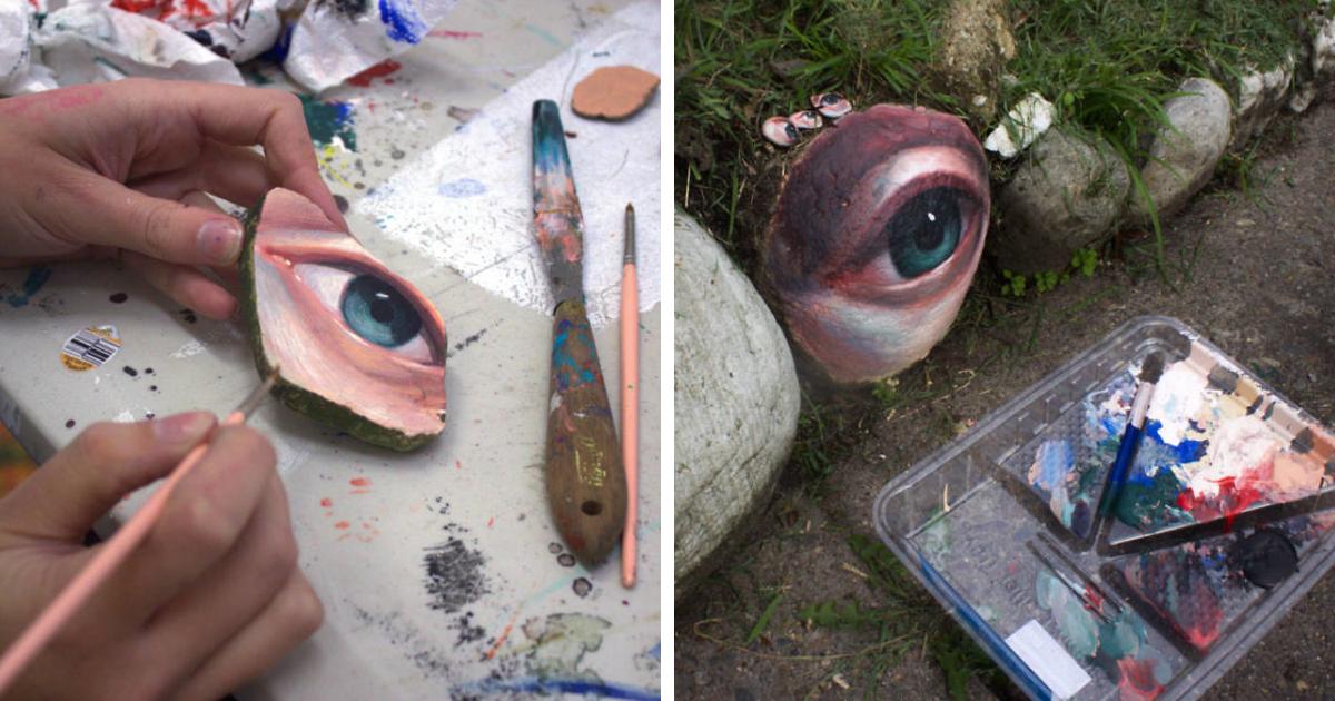 Artista encontra pedras, pinta olhos nelas e as devolve à natureza