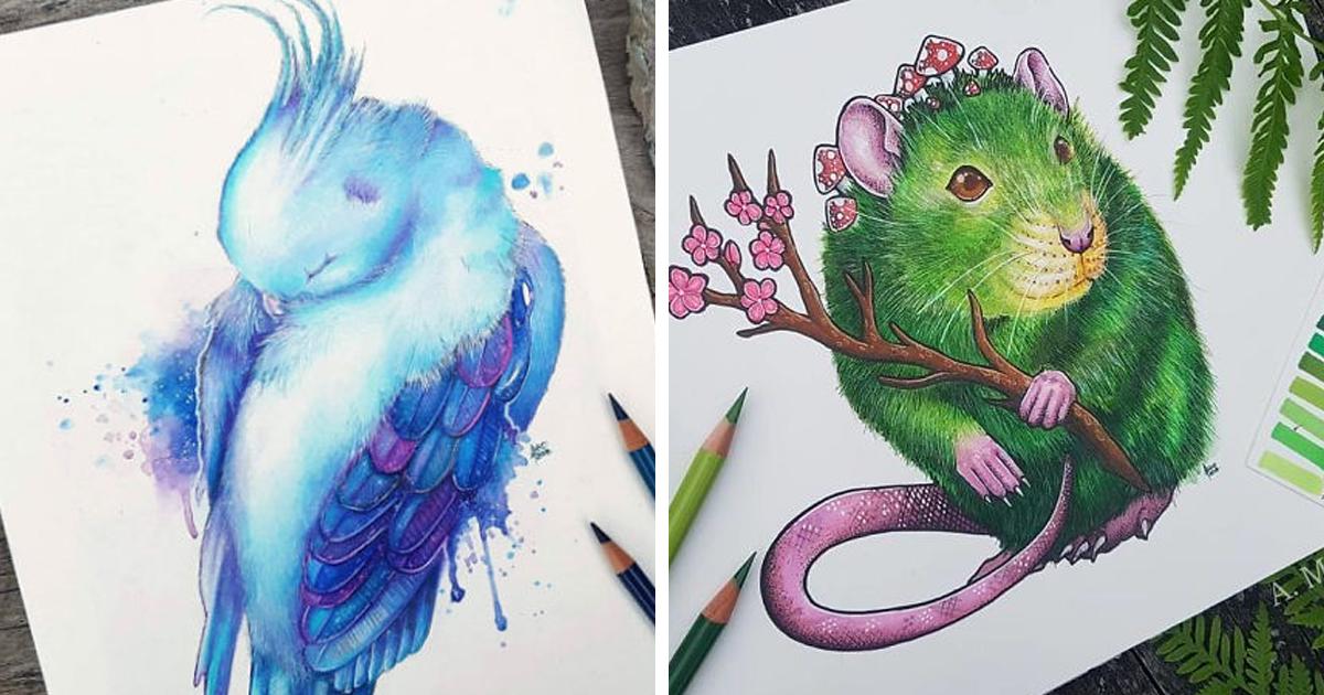 Uma artista desenha animais em aquarela para nos conscientizar