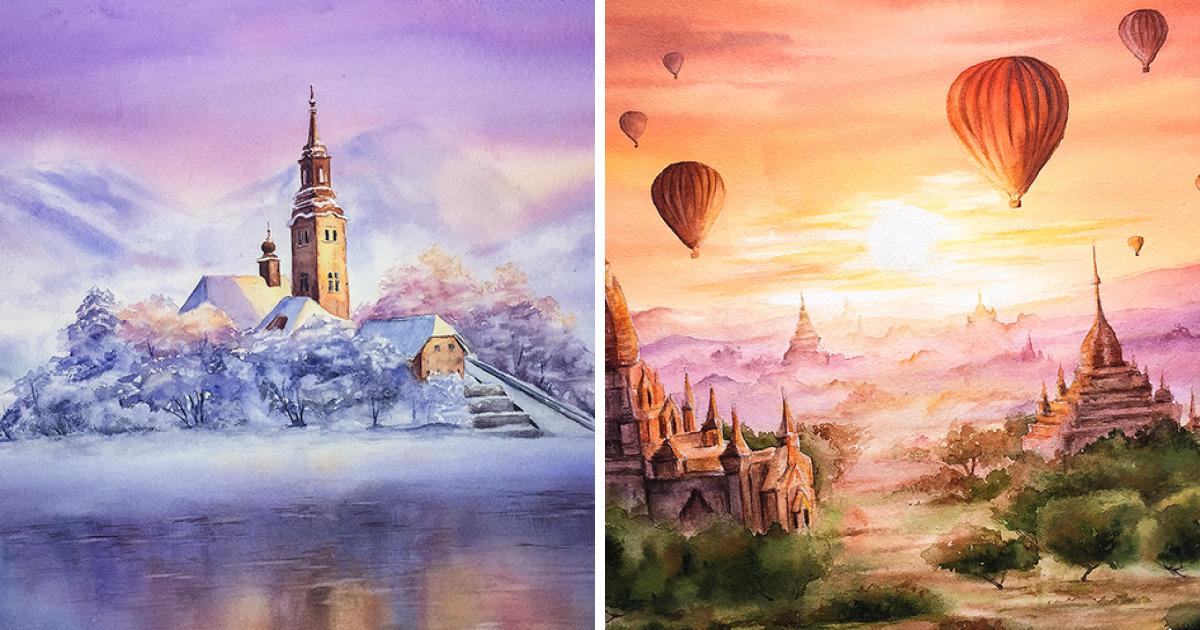 Eu pintei 23 países em aquarelas para que você possa viajar visualmente pelo mundo