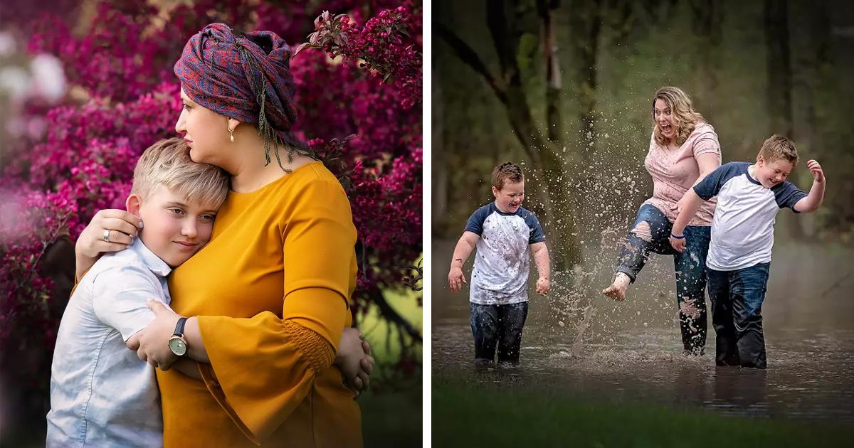 Os registros emocionantes de mães que estão passando por tratamentos contra o câncer em parceria com seus filhos