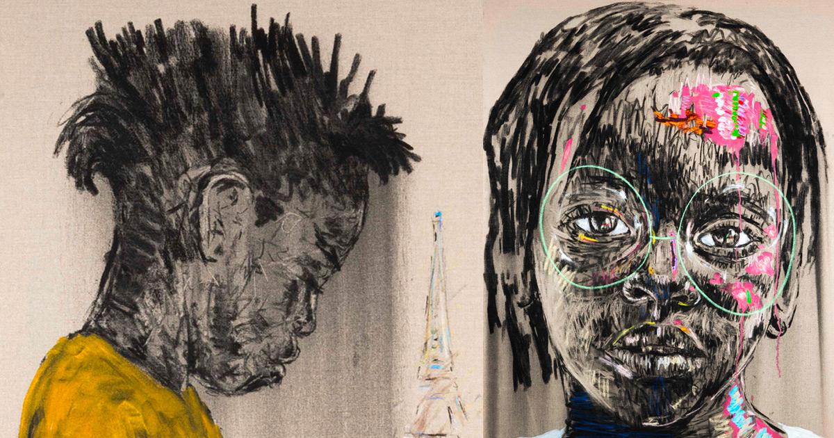 Retratos cândidos à carvão vegetal e pintura a óleo de crianças sul-africanas