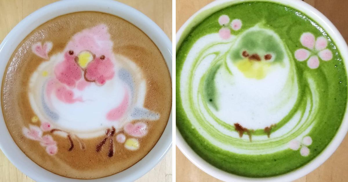 """40 artes de """"latte art"""" incríveis com pássaros de um artista japonês"""