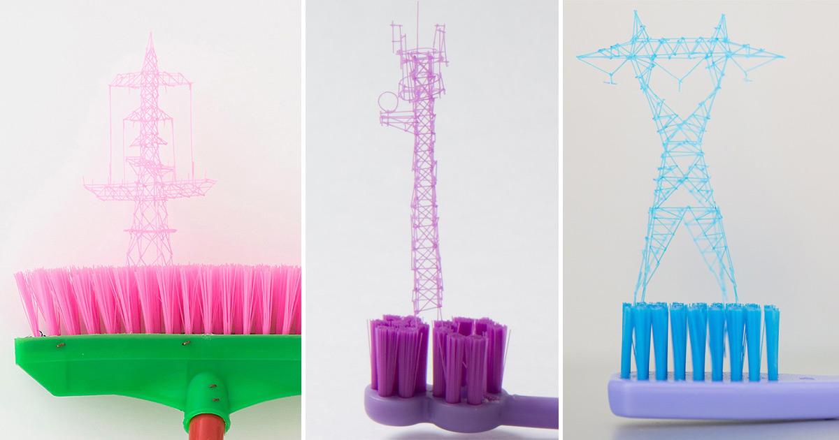 Esculturas em miniatura surgem em uma escova de dente. É bizarro? É, mas é maravilhoso…