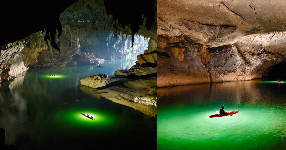 Uma viagem de caiaque por uma das maiores cavernas de rios ativas do mundo