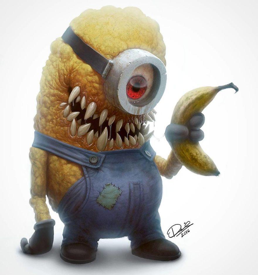 16 dos seus personagens de desenhos animados favoritos transformados em monstros que vão te dar pesadelos