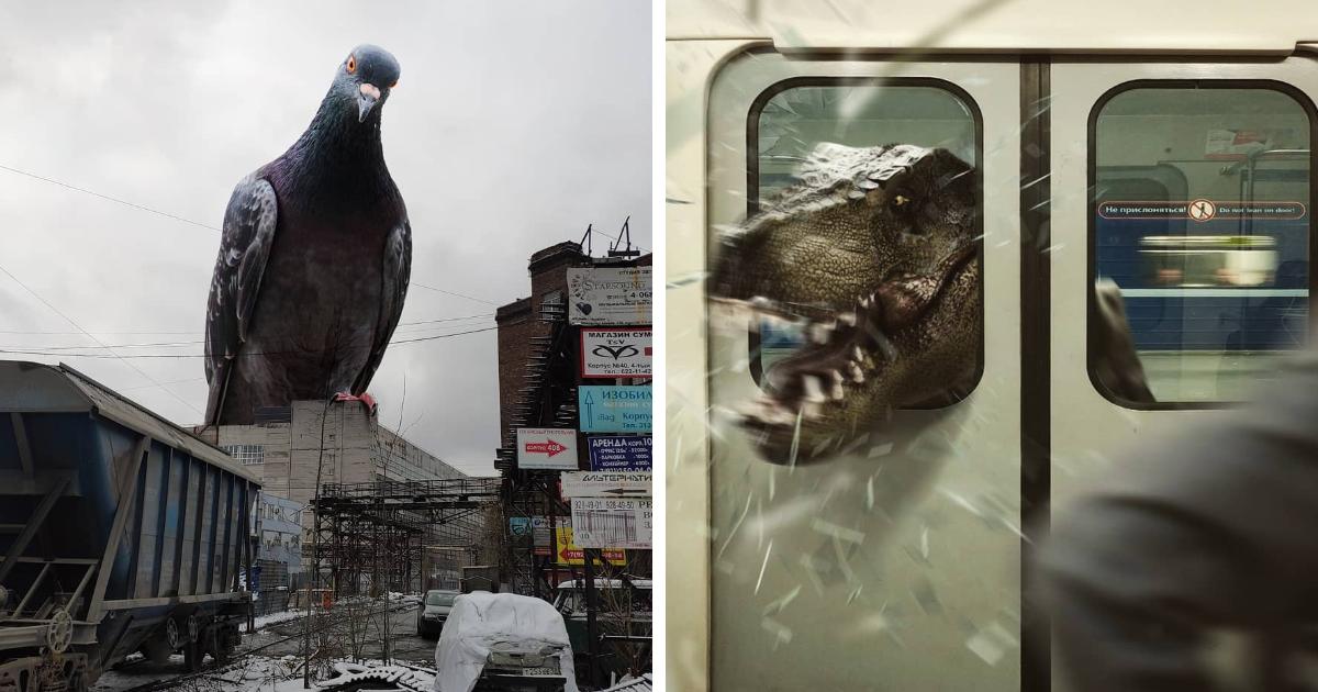 Artista russo transforma sua cidade em um filme com criaturas fantásticas