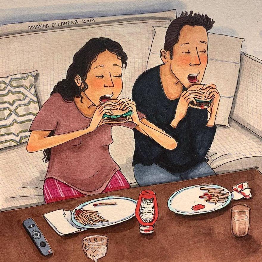 Ilustrações sinceras mostram os bastidores de todos os relacionamentos