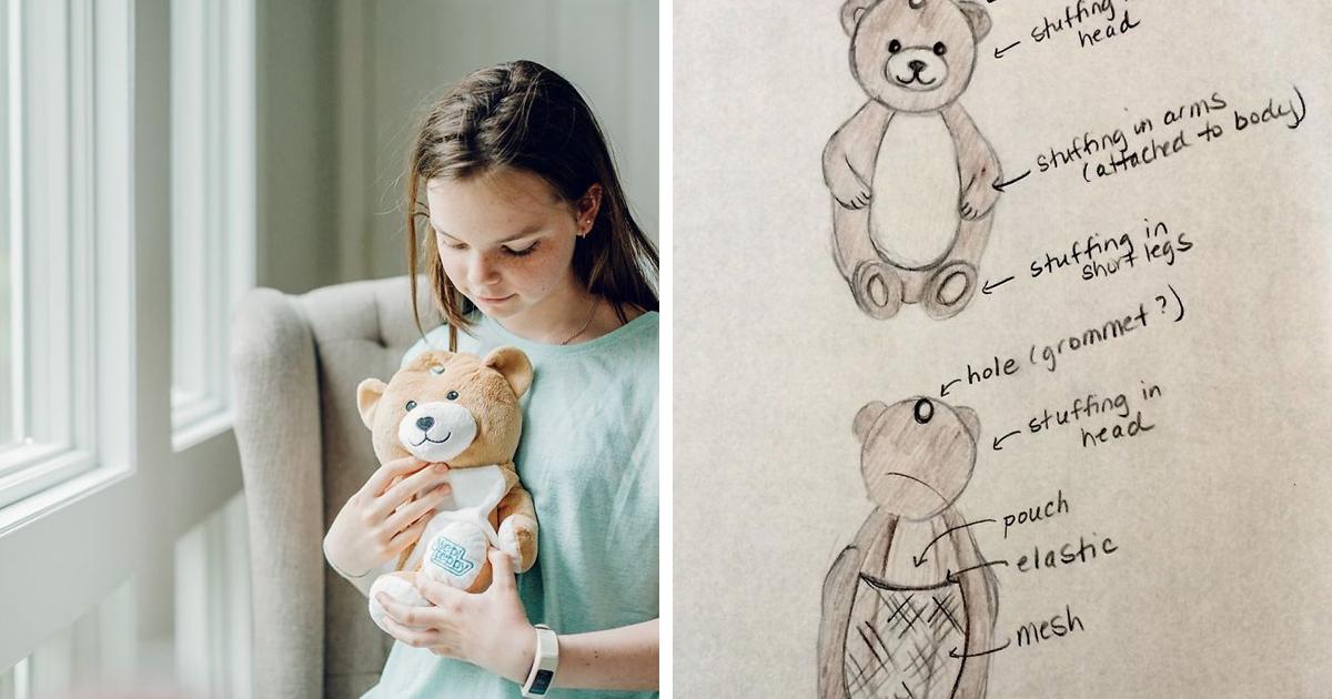 Garota de 12 anos com doença rara cria ursos de pelúcia que escondem bolsas de soro para outros pacientes infantis