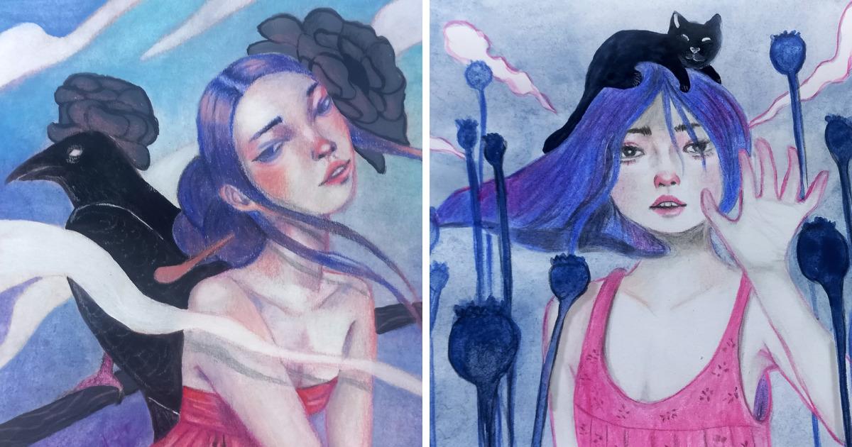 Blue-Haired Girls: Série de pinturas de mulheres viajantes e suas companhias