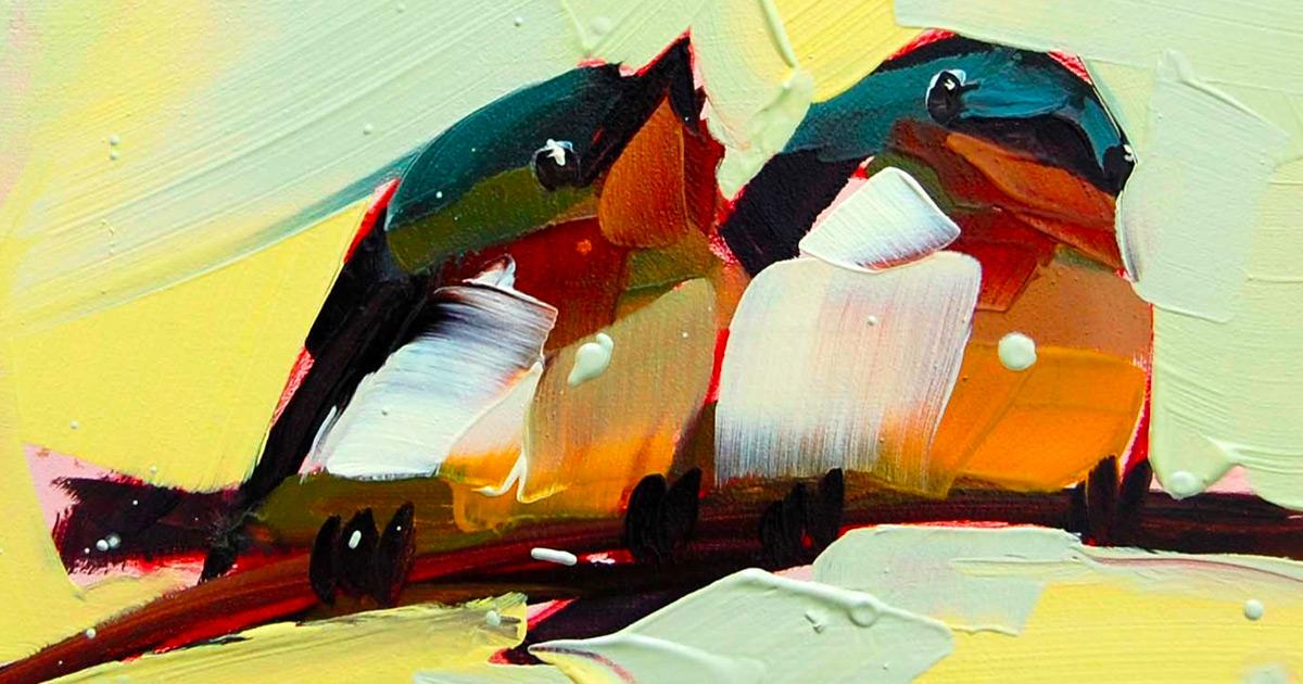 As pinturas a óleo com pinceladas grossas desta artista formam aves canoras gordas