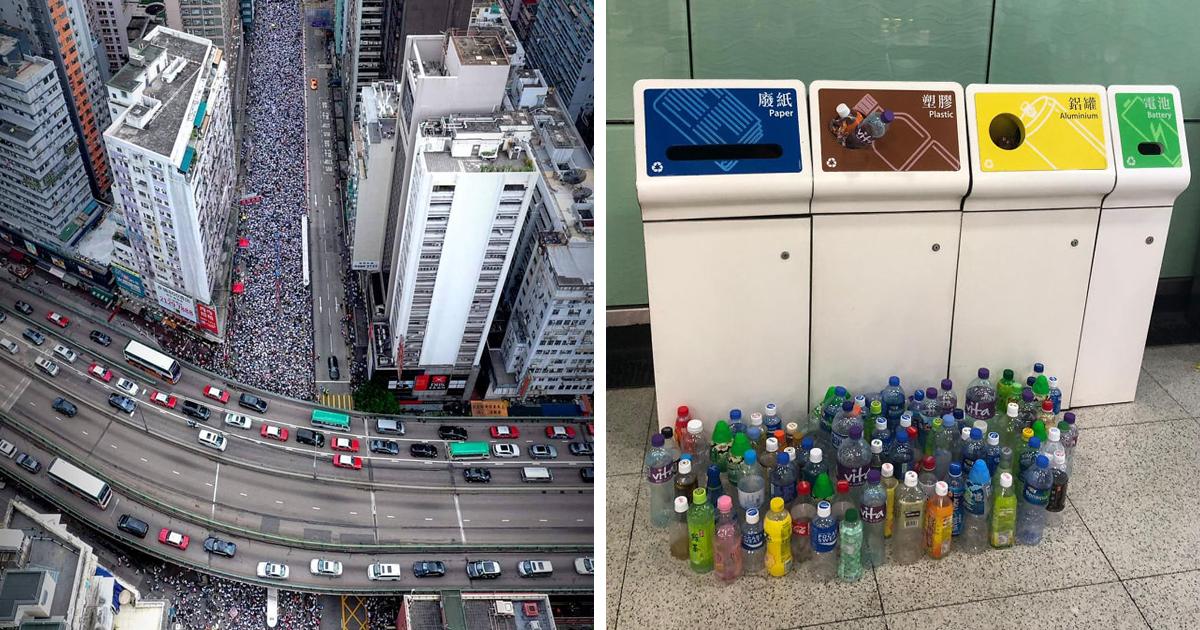 14 fotos dos protestos em massa em Hong Kong que ilustram a disciplina e o respeito da população