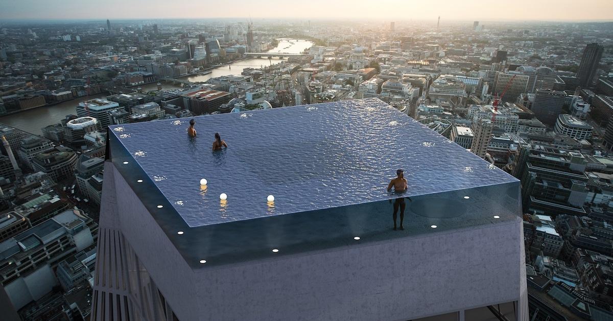 A primeira piscina com borda infinita de 360 graus em breve vai pairar nos ares de Londres