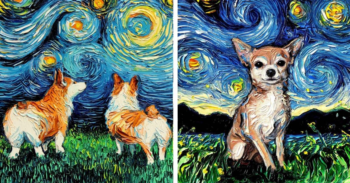 """Artista reimagina """"A Noite Estrelada"""" de Van Gogh com cães adoráveis"""