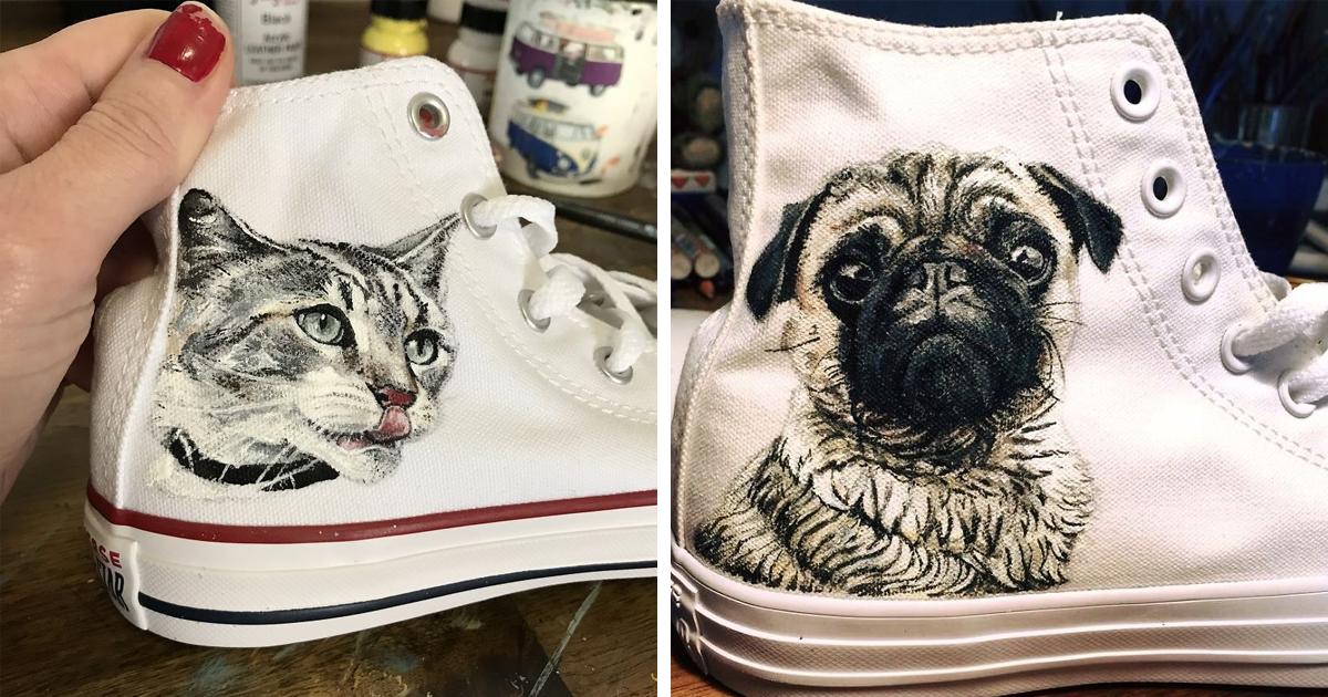 Artista cria presentes originais para donos de pets pintando retratos dos animais em calçados