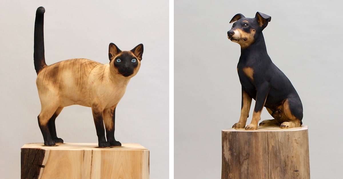 Artista esculpe esculturas realistas de animais a partir de troncos de árvores