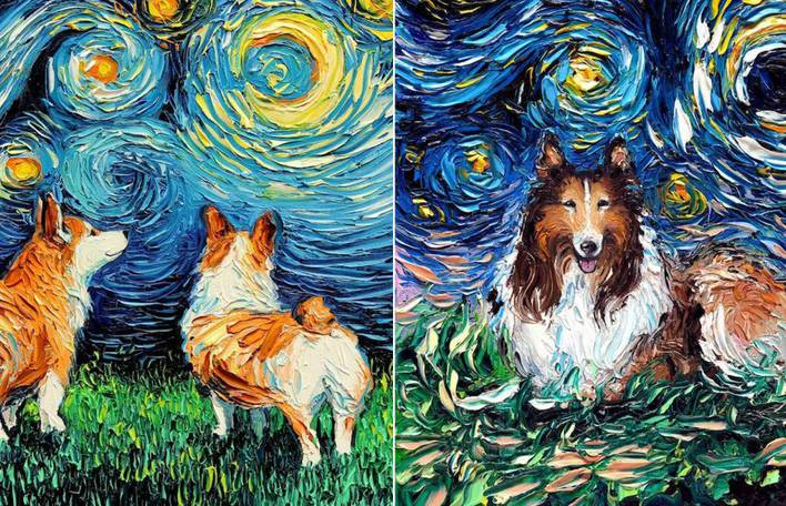 12 cães como pinturas de Van Gogh