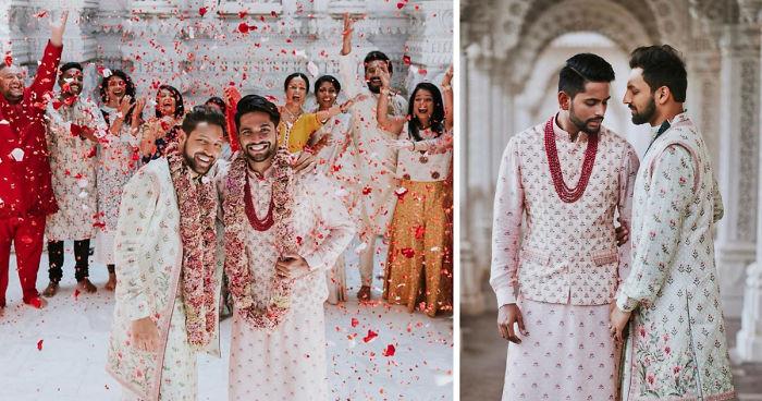 Casal indiano gay realiza uma cerimônia de casamento tradicional em um templo hindu, e as fotos viralizam