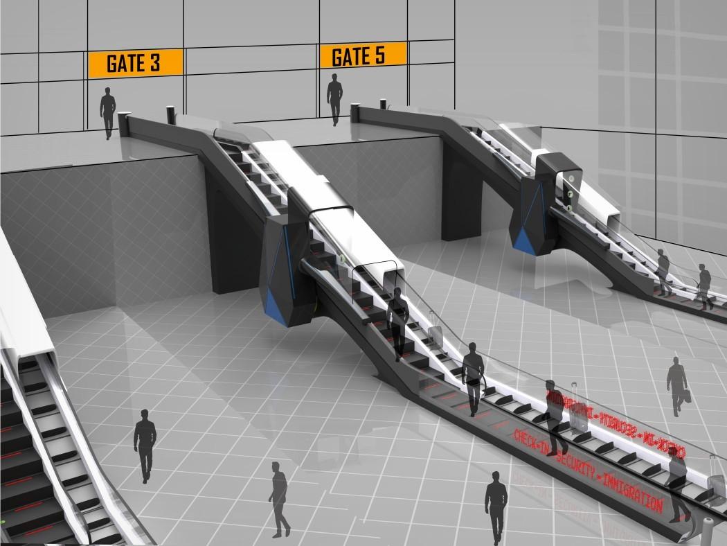 Escada rolante futurista de aeroporto faz sua verificação de segurança enquanto você está subindo