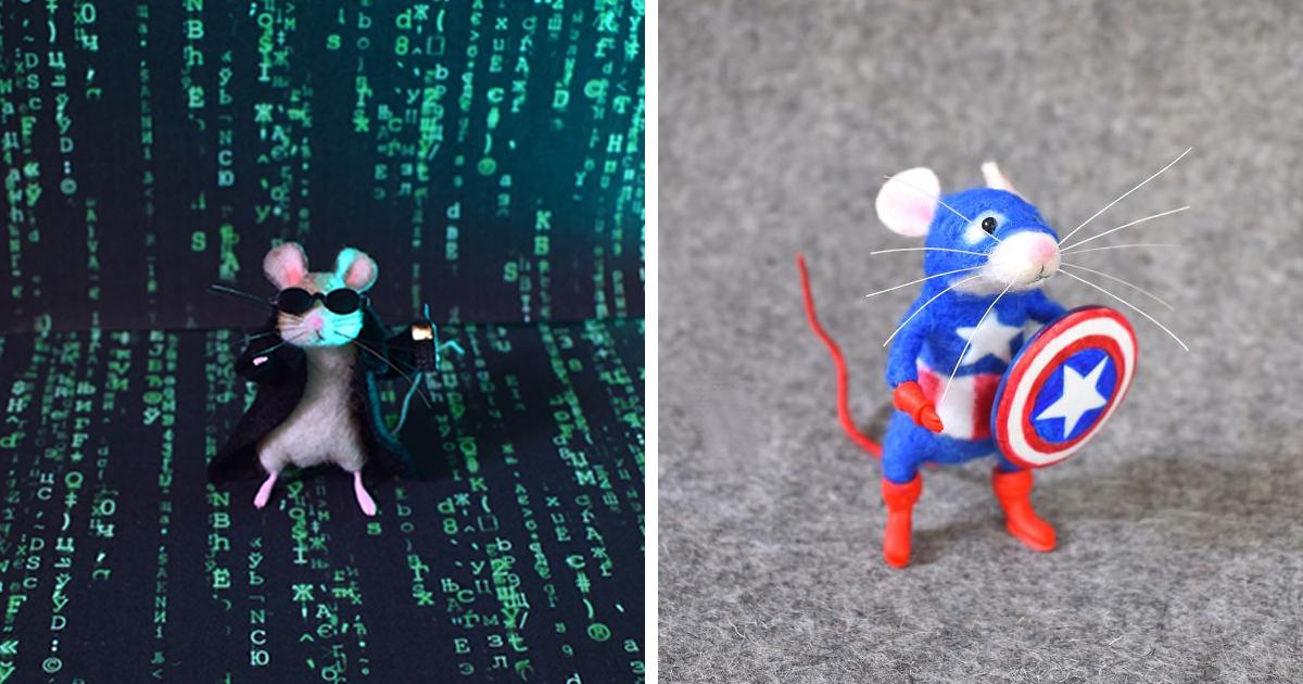 22 imagens divertidas de ratinhos de feltro vestidos como personagens famosos