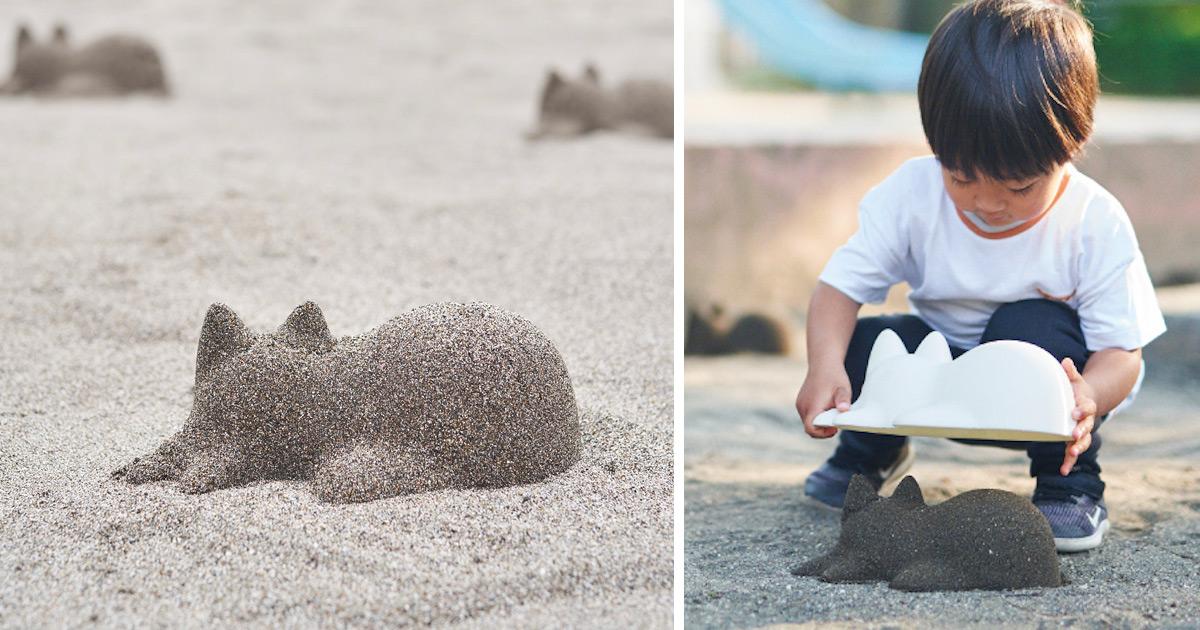 Adoráveis esculturas de gatinhos de areia podem ser criadas com a Neko Cup