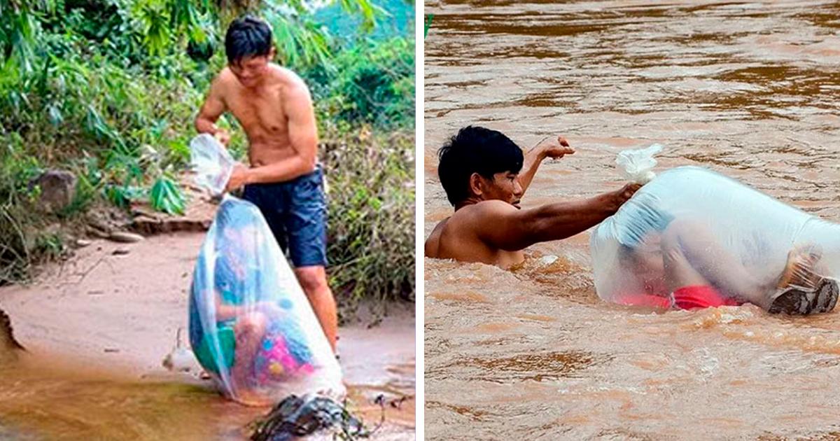 Estudantes vietnamitas atravessam o rio em sacolas plásticas para chegar à escola