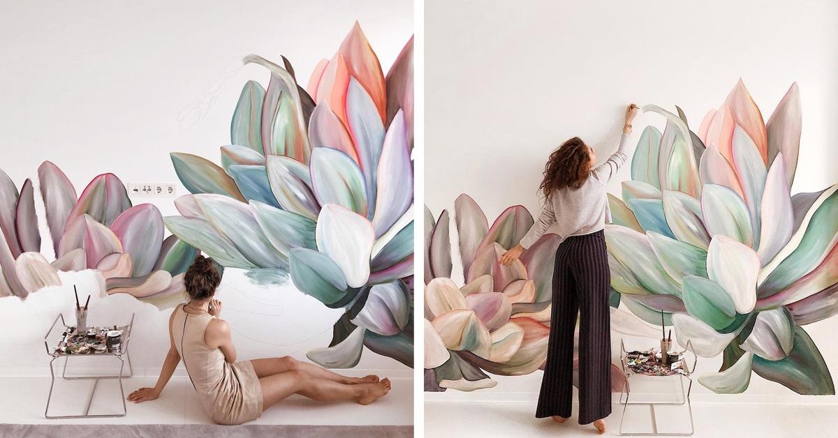 Adoráveis murais de flores transformam quartos comuns em espaços com personalidades florescentes