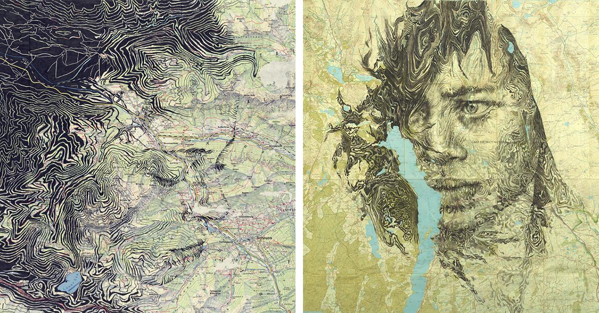 Artista combina cartografia e desenhos para criar belos retratos