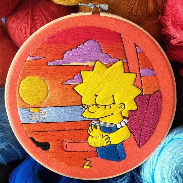 Artista recria cenas dos Simpsons com bordado, e cada uma leva de 10 a 30 horas