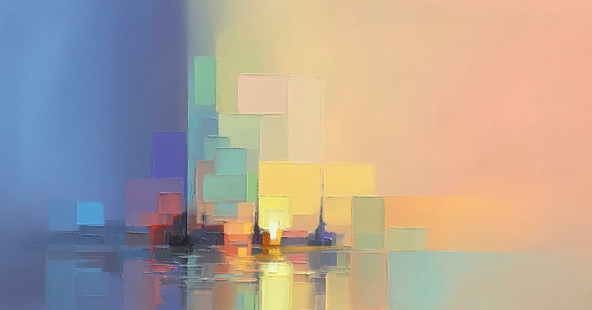 As paisagens deste artista britânico mistura pixelização precisa e abstração nebulosa
