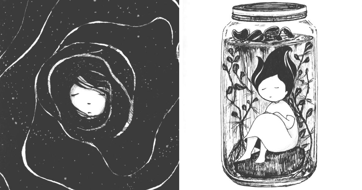 Sempre que estava tendo um ataque de ansiedade, começava a desenhar. Aqui estão 37 destes desenhos.