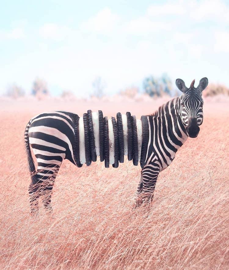 8 combinações fotográficas surreais que mesclam animais com alimentos