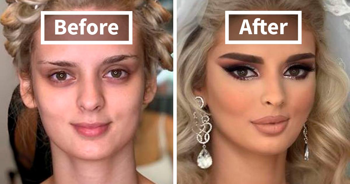 23 fotos de noivas tiradas antes e depois de terem feito a maquiagem do casamento