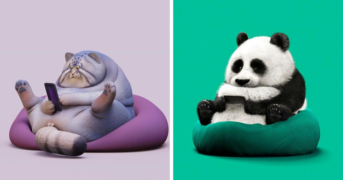 Artista cria ilustrações de animais preguiçosos para mostrar quão preguiçosa esta geração está se tornando