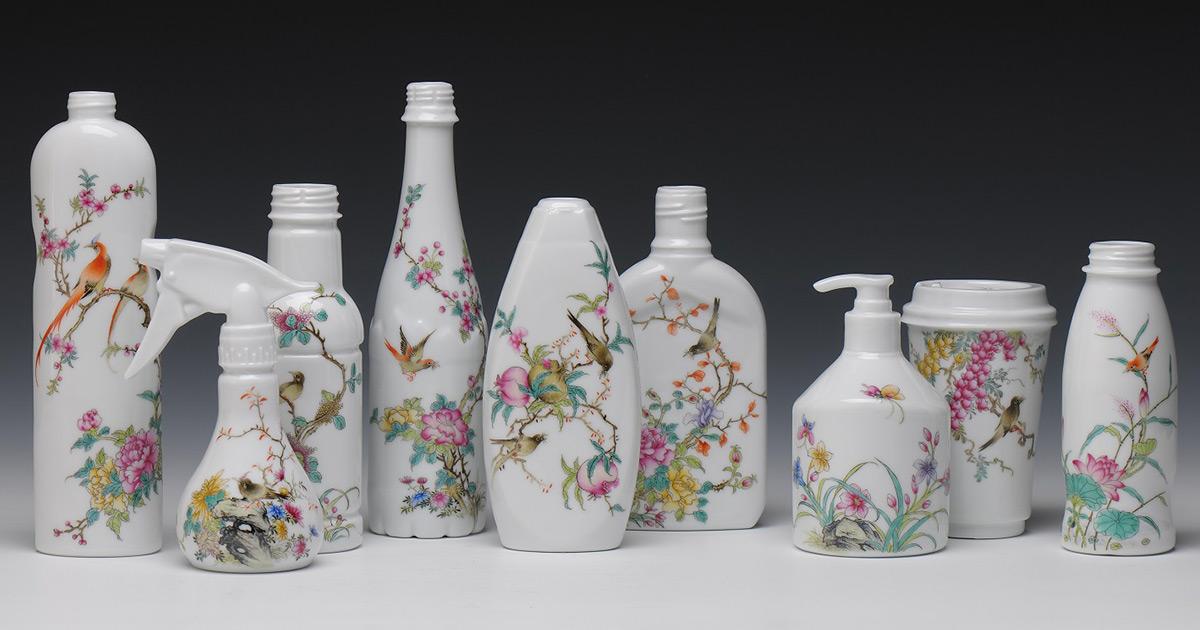 Cerâmicas pintadas à mão inspiradas em pinturas chinesas clássicas